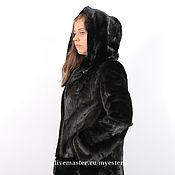 Одежда ручной работы. Ярмарка Мастеров - ручная работа Шуба из норки 90 см цвет черный. Handmade.