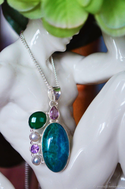 suspension: Harmony. Chrysocolla, Chalcedony, Amethyst, Pearls, Silver, Pendants, Moscow,  Фото №1