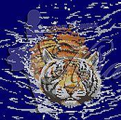 Материалы для творчества ручной работы. Ярмарка Мастеров - ручная работа Плывущий тигр. Схема для вышивки бисером.. Handmade.