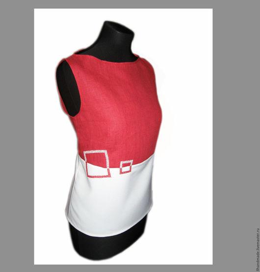 """Блузки ручной работы. Ярмарка Мастеров - ручная работа. Купить Топ-блузка """"Геометрия"""" красное и белое. Handmade. Белый"""