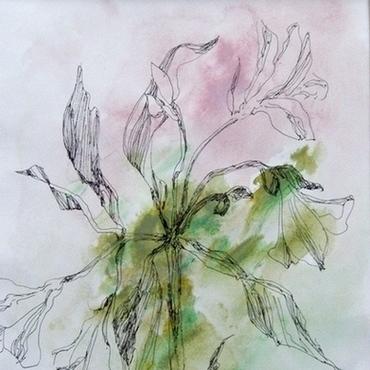 Картины и панно ручной работы. Ярмарка Мастеров - ручная работа Картина Цветы альстромерии картина с цветами графика цветы. Handmade.