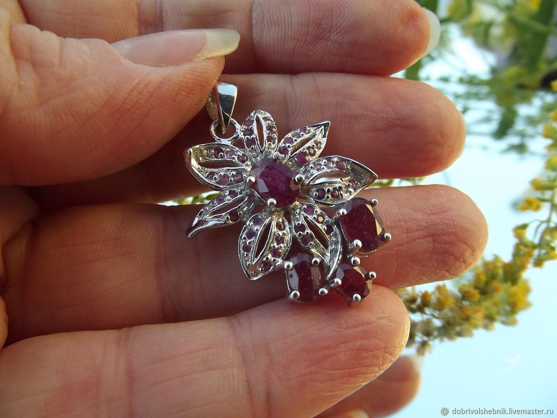 Elegant pendant 'Orchid' from nature. rubies, Pendants, Novaya Usman,  Фото №1