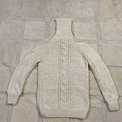 Мужская одежда handmade. Livemaster - original item Knitted wool sweater with goat down. Handmade.