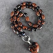 Украшения handmade. Livemaster - original item Sautoir with pendant natural obsidian mahogany and black agate. Handmade.