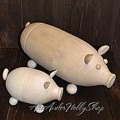 Материалы для творчества ручной работы. Ярмарка Мастеров - ручная работа Свинки копилки, футляры неокрашенное дерево. Handmade.