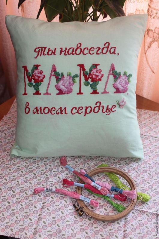 Текстиль, ковры ручной работы. Ярмарка Мастеров - ручная работа. Купить Наволочки с вышивкой для мамы. Handmade. Мятный, подарок маме