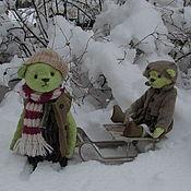 Куклы и игрушки ручной работы. Ярмарка Мастеров - ручная работа Тася и Сеня ( Зимние забавы). Handmade.