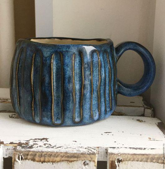 Кружки и чашки ручной работы. Ярмарка Мастеров - ручная работа. Купить Чашка с собачкой внутри.. Handmade. Синий, синяя чашка