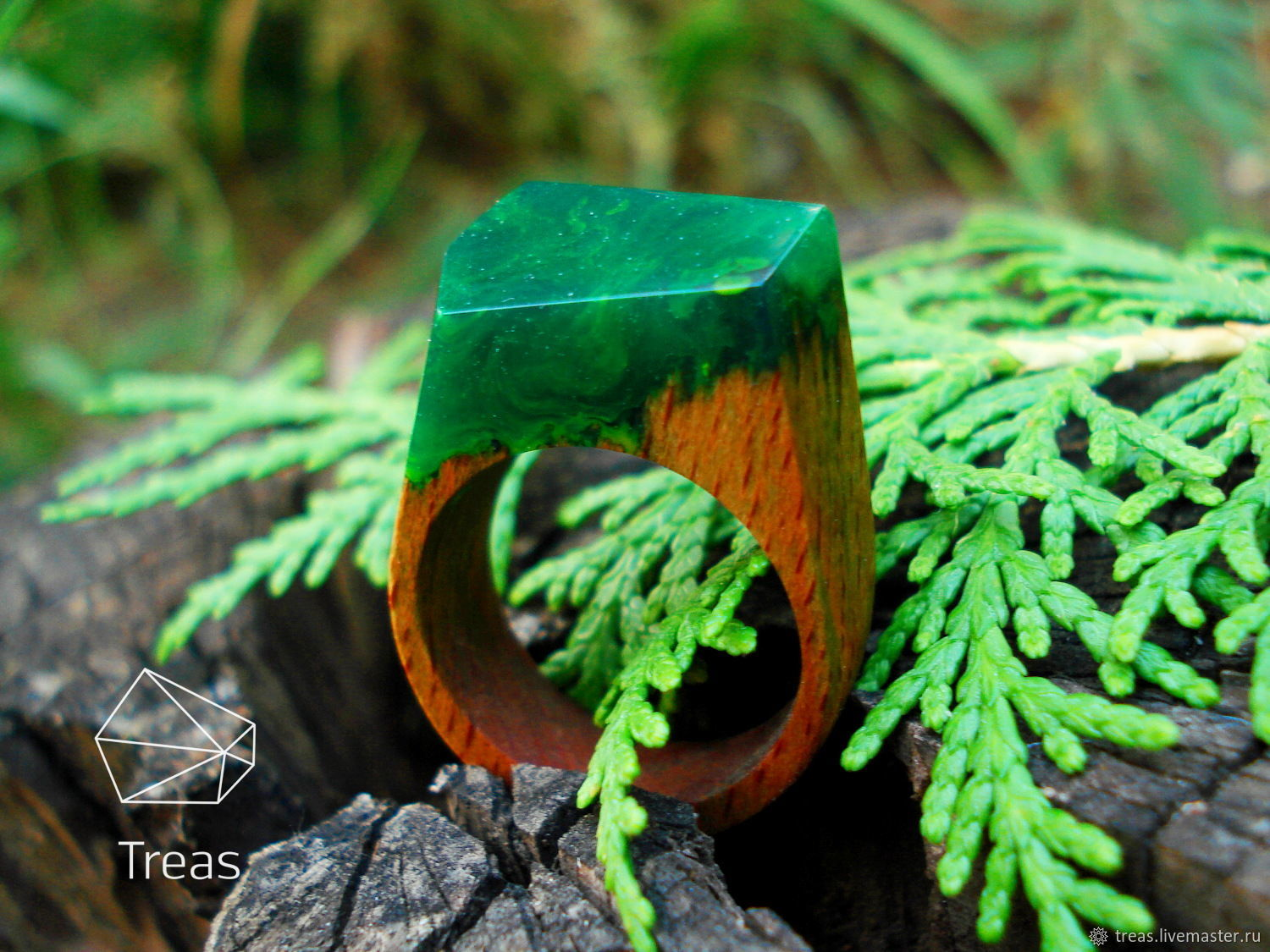 Summer - ring made of beech wood and jewelry (epoxy) resin, Rings, Volgograd,  Фото №1