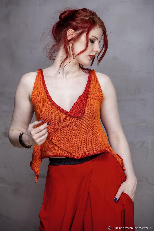 Tops handmade. Livemaster - handmade. Buy S_027 Knit top raznochinny, color orange/cherry.Summer, top summer, two-tone