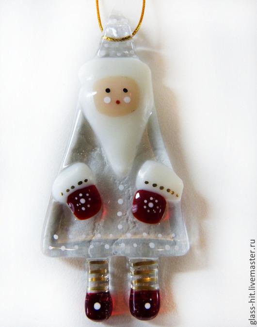 Ёлочная игрушка `Дед Мороз`. Стекло. Фьюзинг.