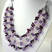 Украшения handmade. Livemaster - original item Necklace 3 threads of amethyst, garnet and rose quartz - briolettes.. Handmade.