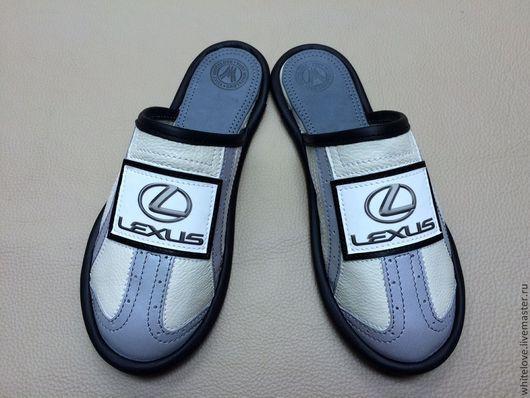 """Обувь ручной работы. Ярмарка Мастеров - ручная работа. Купить Кожаные тапочки """"Лексус"""". Handmade. Белый, мужские тапочки"""