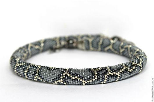 """Колье, бусы ручной работы. Ярмарка Мастеров - ручная работа. Купить Жгут  из японского """"Серая змейка """". Handmade."""