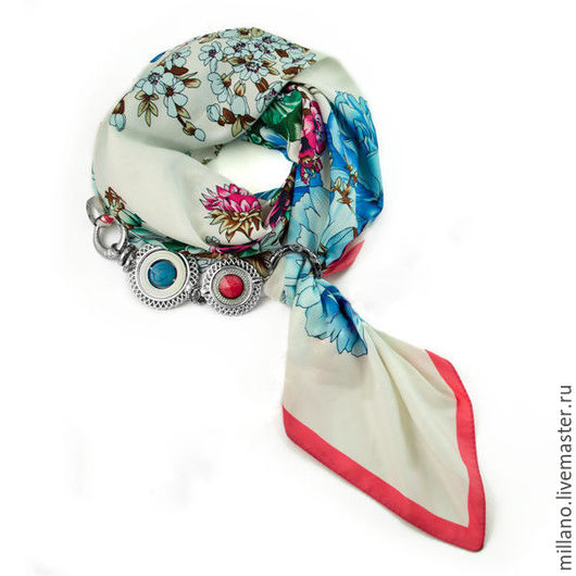 Шарфы и шарфики ручной работы. Ярмарка Мастеров - ручная работа. Купить Шелковый платок-колье с цветами белый. Handmade. Белый