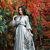 Одежда handmade. Livemaster - original item Exclusive dress with embroidery and painting