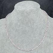 Работы для детей, handmade. Livemaster - original item Delicate beads made of natural kunzite stone with a cut. Handmade.