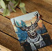 Открытки ручной работы. Ярмарка Мастеров - ручная работа Набор открыток с оленем. 4 штуки. Handmade.