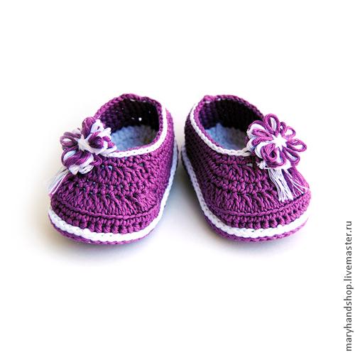 Для новорожденных, ручной работы. Ярмарка Мастеров - ручная работа. Купить Пинетки «Фиолетовые туфли». Handmade. Фиолетовый, пинетки крючком
