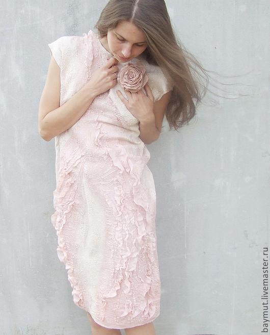 """Платья ручной работы. Ярмарка Мастеров - ручная работа. Купить Платье """"Розовая пыль"""". Нунофелтинг. Handmade. Абстрактный, пыльная роза"""