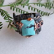 Украшения handmade. Livemaster - original item Silver ring with turquoise and amethyst. Handmade.