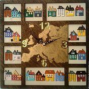 """Для дома и интерьера ручной работы. Ярмарка Мастеров - ручная работа Часы """"Путешествие по Европе"""". Handmade."""