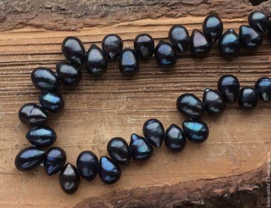 Жемчуг 11-14 мм чернильный крупные капли натуральный бусины. Жемчуг крупный, отличного качества, черно-синего оттенка.  Жемчуг  для украшений и бижутерии  ручной работы. Handmade.