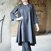 Платья ручной работы. Ярмарка Мастеров - ручная работа Темно-серое платье-туника, Платье из холодной шерсти - DR0091CW. Handmade.