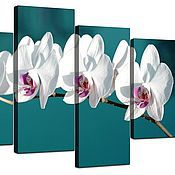 Картины и панно handmade. Livemaster - original item White orchids on turquoise background. Handmade.