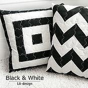 Для дома и интерьера ручной работы. Ярмарка Мастеров - ручная работа Декоративные подушки лоскутные. Black & White. Handmade.