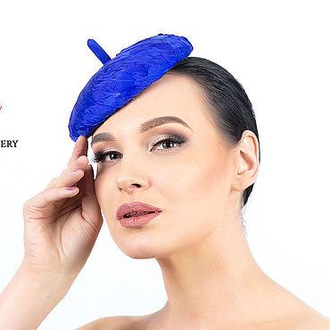 Аксессуары ручной работы. Ярмарка Мастеров - ручная работа Шляпы: Вечерняя шляпка из перьев цвета королевский синий. Handmade.