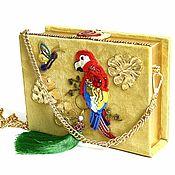 Сумки и аксессуары handmade. Livemaster - original item Suede clutch book with gold accessories