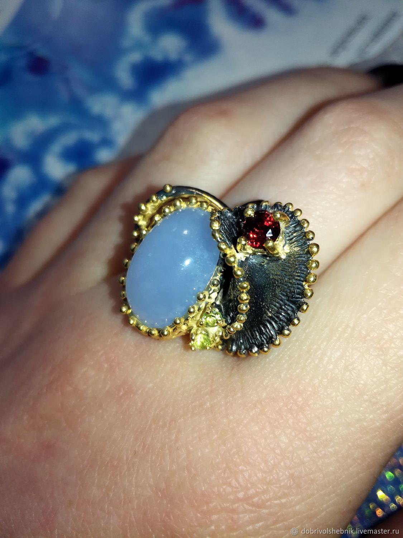 Blue lake ring with blue chalcedony, Rings, Novaya Usman,  Фото №1