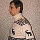 """Для мужчин, ручной работы. Ярмарка Мастеров - ручная работа. Купить свитер мужской вязаный  """" СЕВЕРНЫЕ ОЛЕНИ"""". Handmade."""