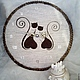 """Часы для дома ручной работы. Ярмарка Мастеров - ручная работа. Купить Часы из кофе """"Кошки. Хвостики-завитки"""" большие. Handmade."""