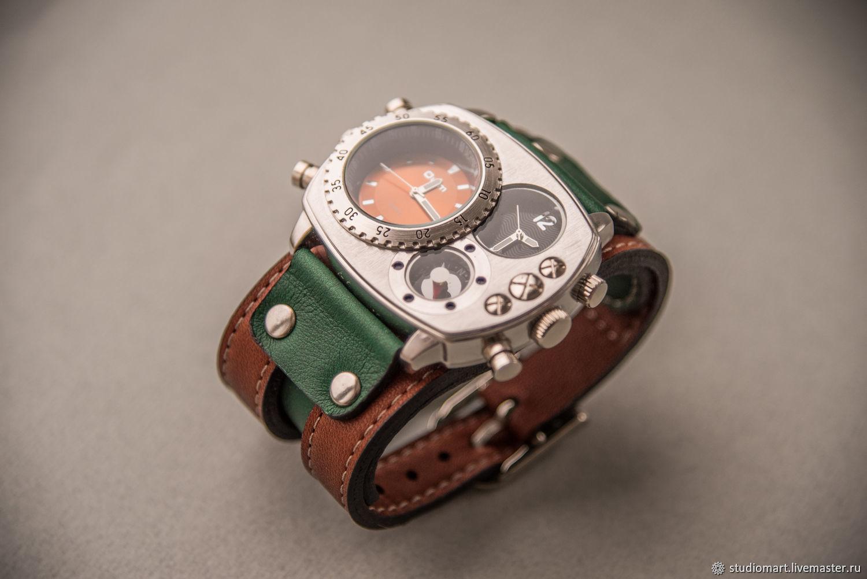 fa034538 Купить Наручные кварцевые часы Brutal · Наручные часы ручной работы.  Наручные кварцевые часы Brutal Green широкий браслет из кожи.
