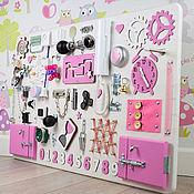 Бизиборды ручной работы. Ярмарка Мастеров - ручная работа Бизиборд для девочки 100x60 семи разных цветов. Handmade.