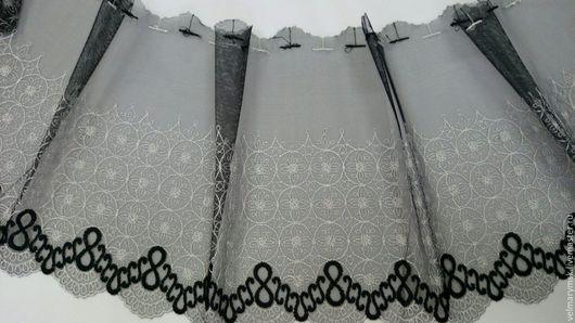 Аппликации, вставки, отделка ручной работы. Ярмарка Мастеров - ручная работа. Купить вышивка на сетке  Mil-87 черно/белого цвета. Handmade.