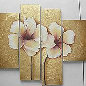 """Картины и панно ручной работы. Ярмарка Мастеров - ручная работа Картина """"Золотые цветы"""". Handmade."""