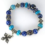 Украшения handmade. Livemaster - original item б34 Bracelet with lapis lazuli and Turkmenistan
