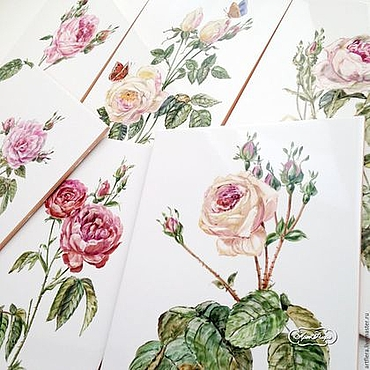 Diseño y publicidad manualidades. Livemaster - hecho a mano Painting tile-Painting ceramic Tile in bath of Roses. Handmade.