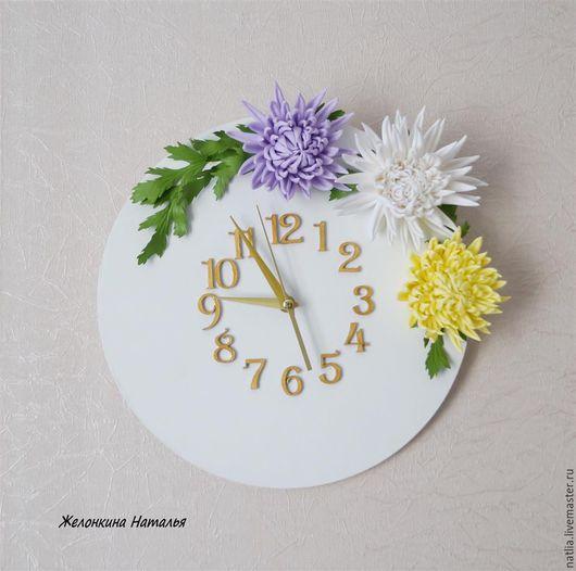 """Часы для дома ручной работы. Ярмарка Мастеров - ручная работа. Купить Часы """"Хризантемы"""". Handmade. Белый, часы интерьерные, георгины"""