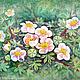 """Картины цветов ручной работы. Ярмарка Мастеров - ручная работа. Купить Картина """"Курильский чай"""" зеленый цветы розовый белый. Handmade."""