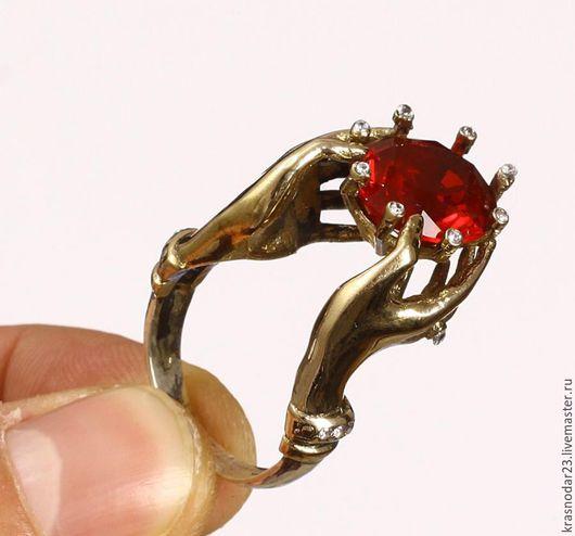 """Кольца ручной работы. Ярмарка Мастеров - ручная работа. Купить Кольцо """"Страстное сердце"""" из серебра 925пробы с позолотой и гранатом. Handmade."""