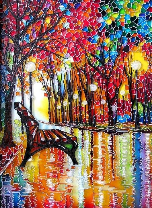 """Пейзаж ручной работы. Ярмарка Мастеров - ручная работа. Купить """"Скамейка"""" Роспись стекла витражными красками. Handmade. Скамейка, природа"""