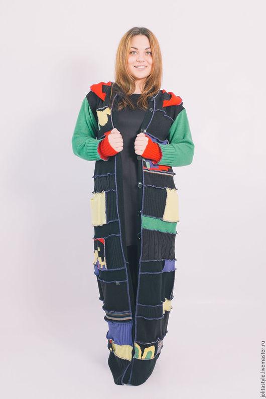 Верхняя одежда ручной работы. Ярмарка Мастеров - ручная работа. Купить Чёрный  , шерстяной свитер. Handmade. В клеточку