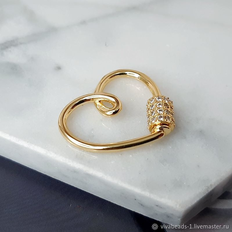 Lock with Zircons Heart 23x24.5x3.5. 4739.  mm Gold Plated (), Accessories4, Voronezh,  Фото №1