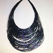 Украшения handmade. Livemaster - original item Decoration on the neck, a dark blue beaded necklace. Handmade.