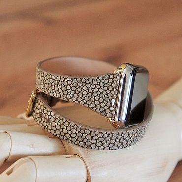 Украшения ручной работы. Ярмарка Мастеров - ручная работа Часовой ремешок Apple Watch из ската в два оборота. Handmade.