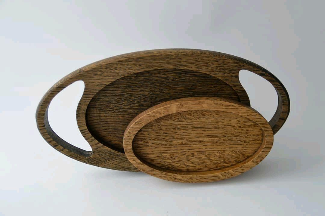 Дуб. Поднос и тарелка из дерева. Деревянный поднос и тарелка, Подносы, Иваново,  Фото №1
